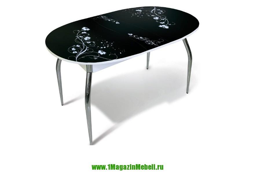 Стол обеденный стеклянный раздвижной, овальный, черный (арт. М4212)