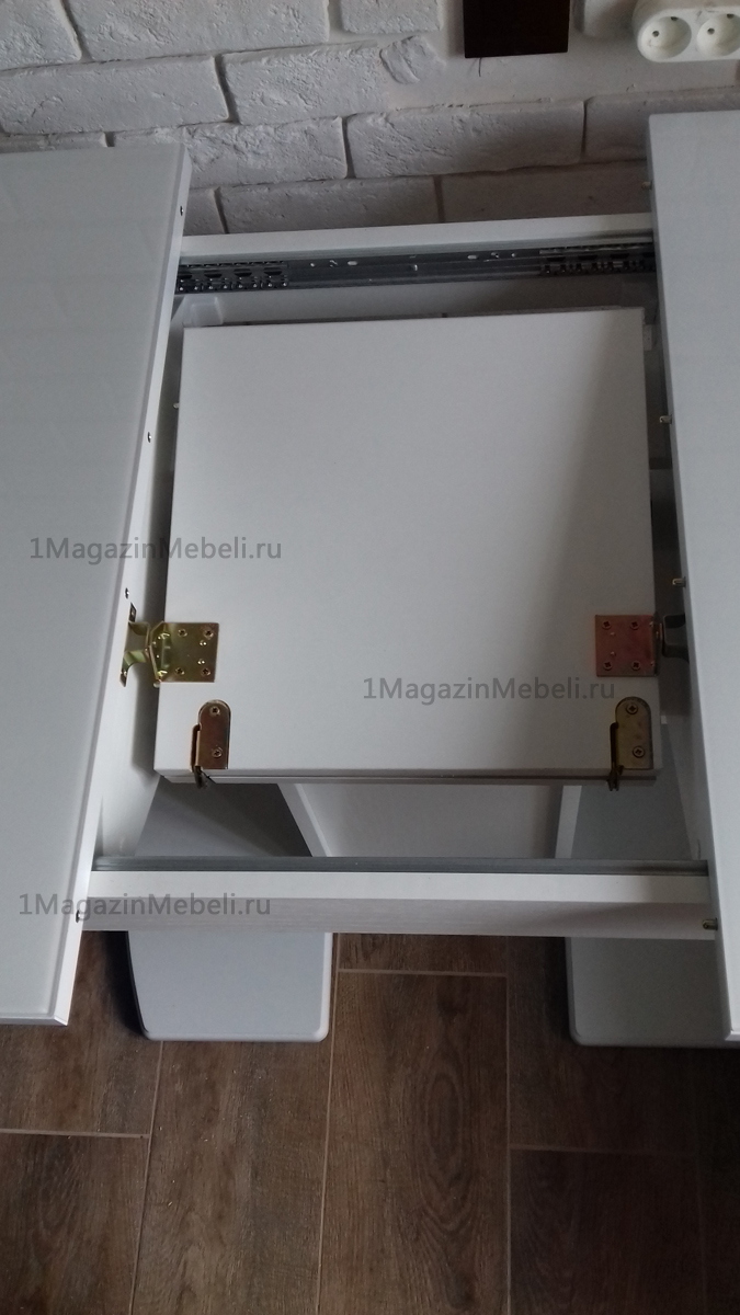 Стол Соло белый оптивайт, стеклянный на одной ножке (арт. М4415)