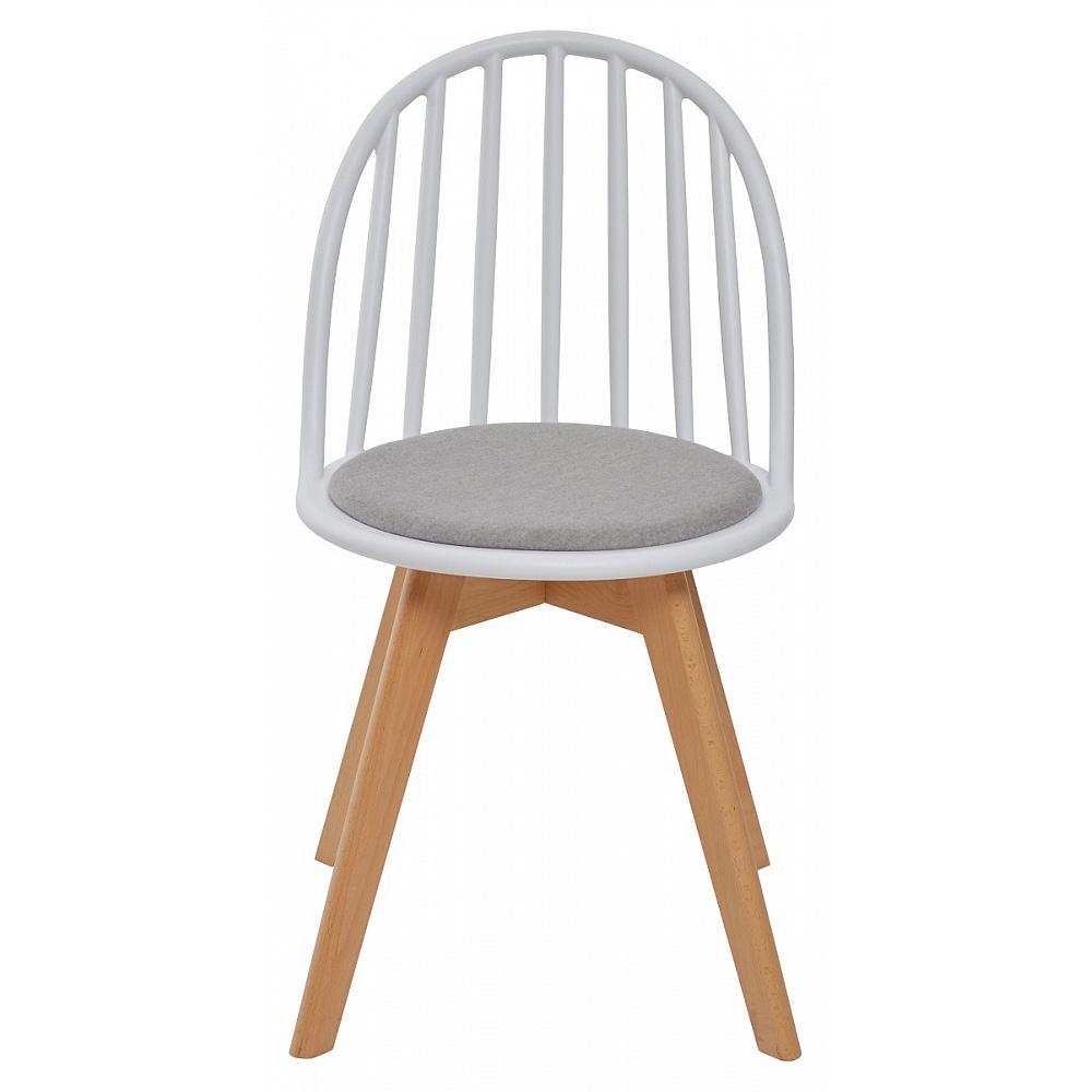Пластиковый стул с деревянными ножками с мягким сиденьем (арт. М3418)