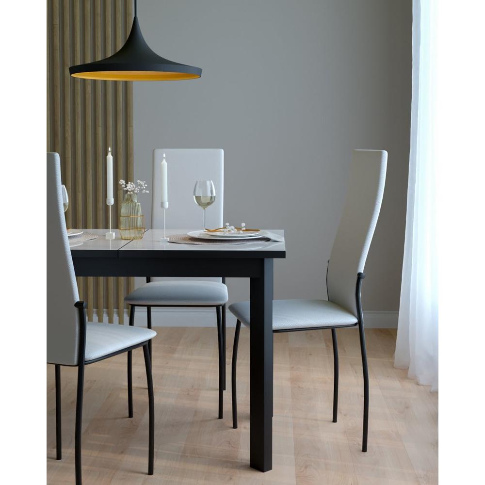 Стул для кухни с высокой спинкой, белый, каркас черный (арт. М3555)