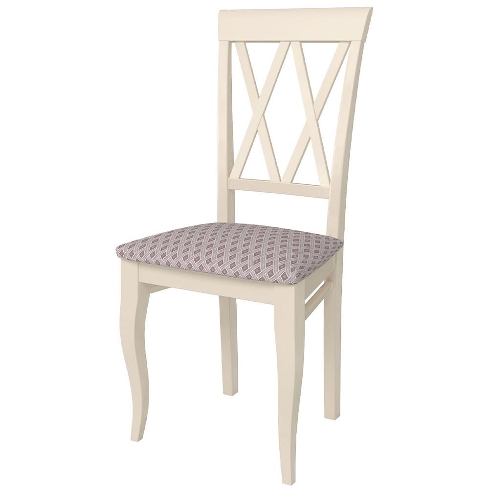Красивый стул из массива березы, слоновая кость ткань 16 (арт. М3587)