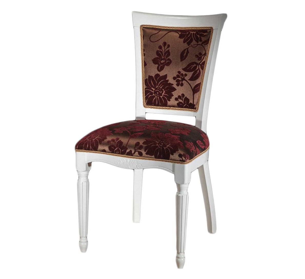 Белый стул с резными ножками из дерева С-12 (арт. М3300)