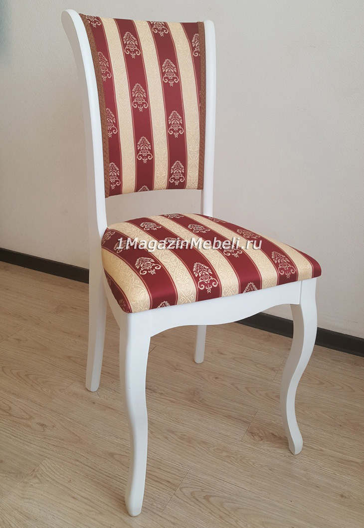 Стул деревянный белый, ткань полоса красная тон 304 (арт. М3268)