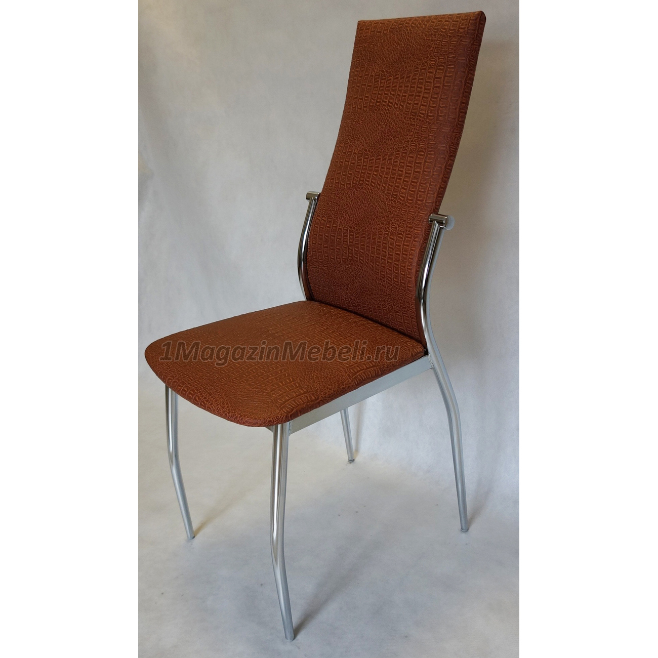 Кухонный стул коричневый крокодил, терракот, хром (арт. М3220)