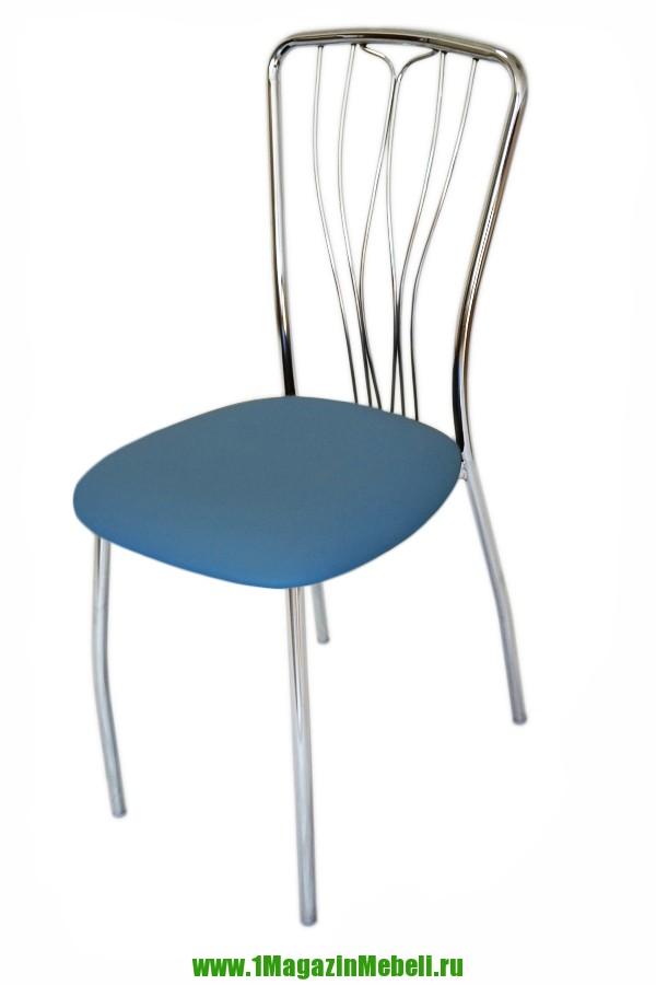 Стул для кухни мягкий цвет голубой, хром, недорого (арт. М3149)