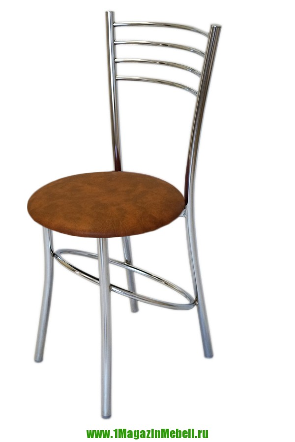 Круглый стул для кухни, цвет коричневый, хром (арт. М3198)