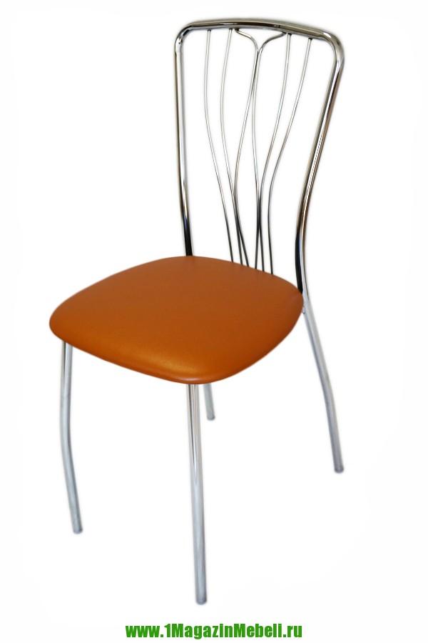 Оранжевый стул для кухни, хромированный, прочный (арт. М3135)