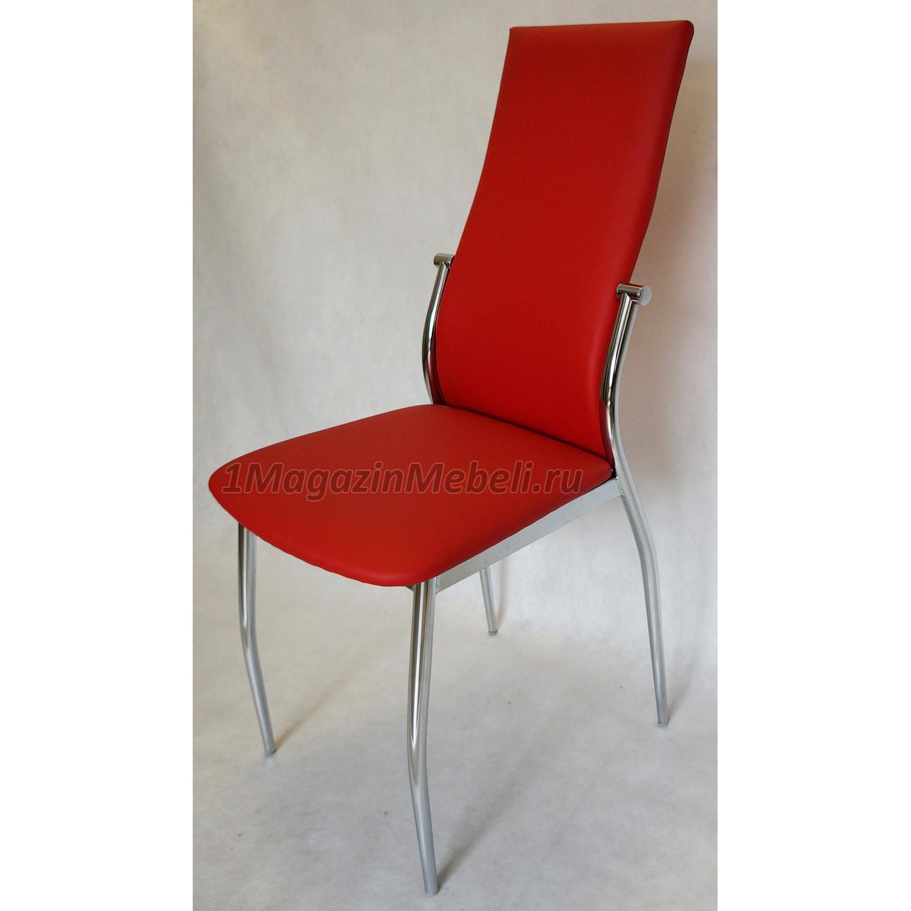 Красный стул для кухни металлический, хром, высокая спинка (арт. М3224)