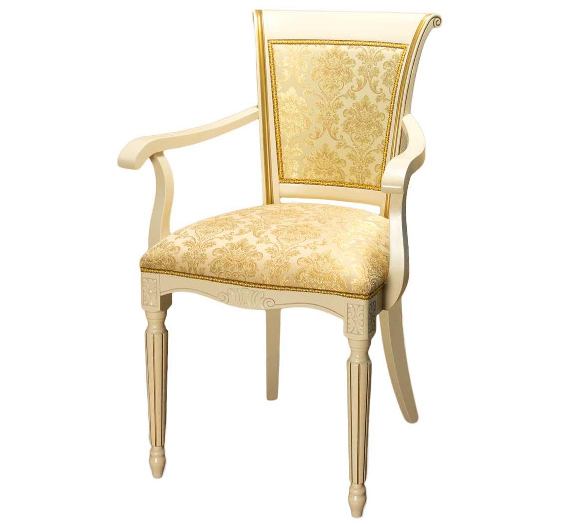 Стул-кресло слоновая кость для дома из дерева (арт. М3351)