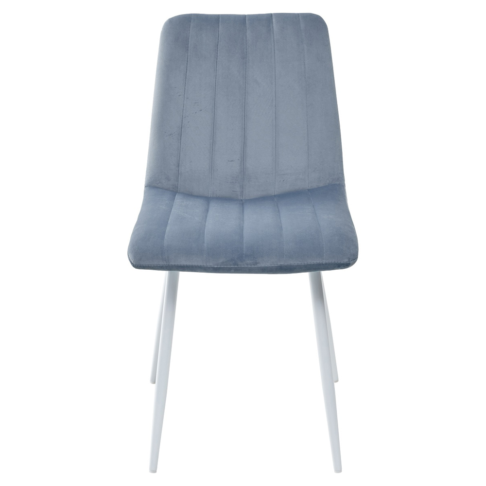 Стул пудровый синий, велюр, белые ножки (арт. М3539)