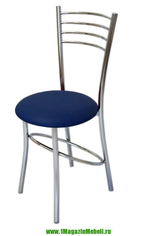 Синий стул для кухни, металлический, хром (арт. М3200)