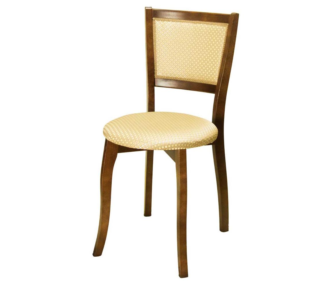 Круглый деревянный стул дерево орех, ткань (арт. М3246)