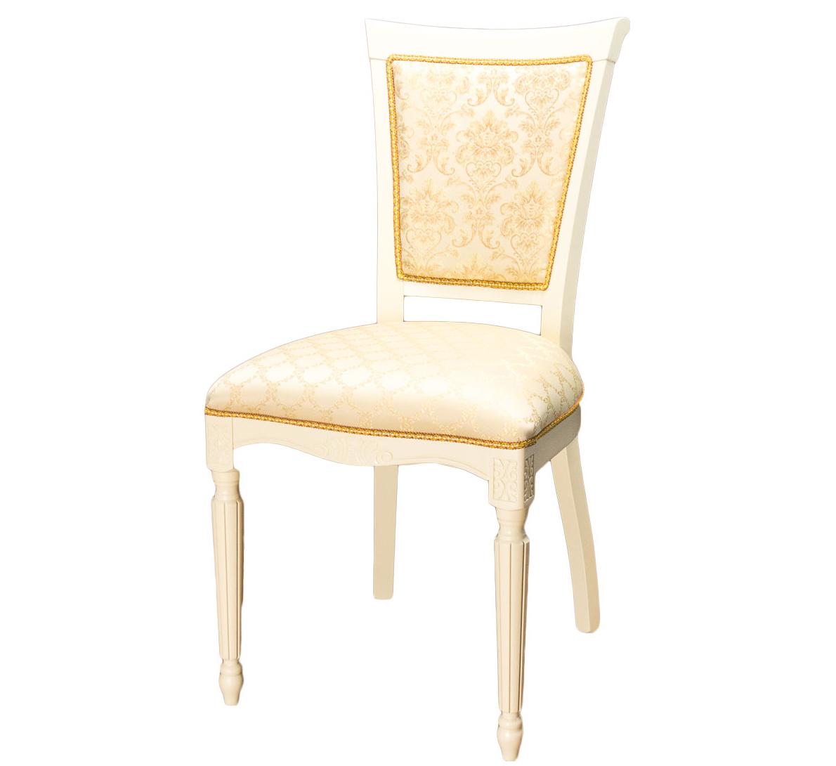 Бежевый стул из дерева с прямыми резными ножками (арт. М3299)