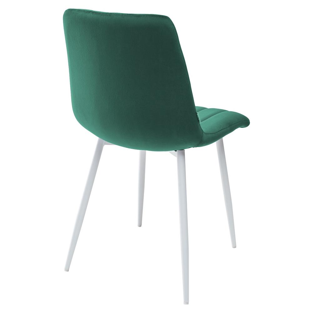 Стул для кухни с белыми ножками, зеленый, велюр (арт. М3529)