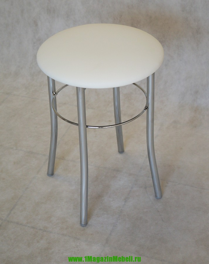 Табурет белый хромированный, круглый (арт. М3104)