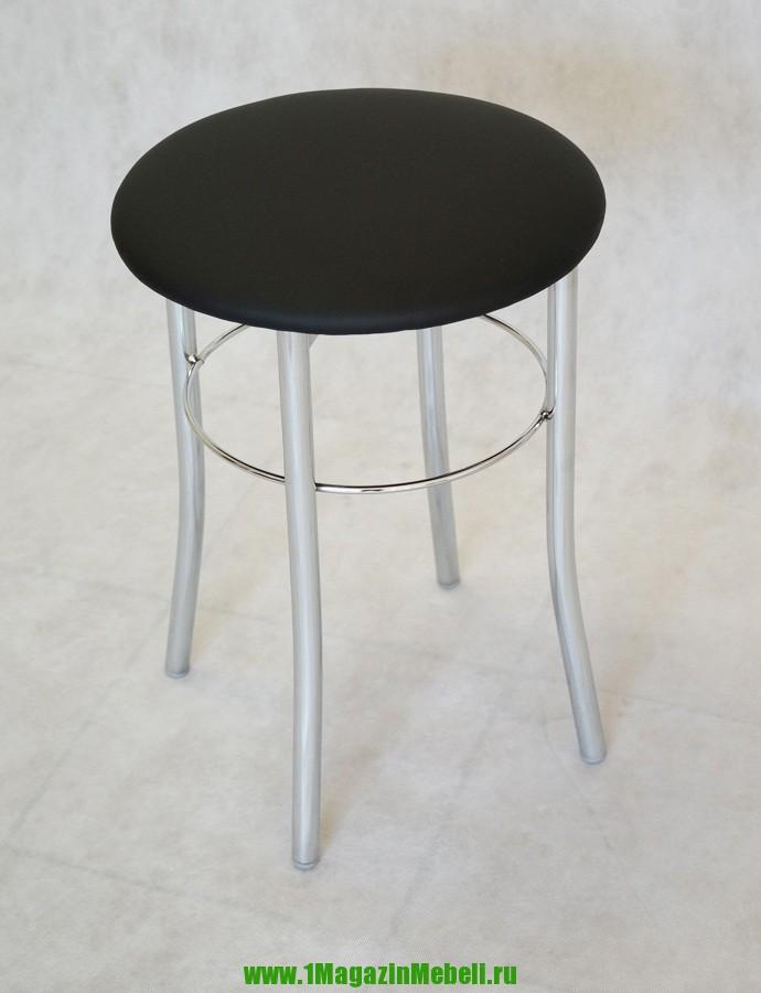 Табурет черный для кухни с круглым сидением, хром (арт. М3105)
