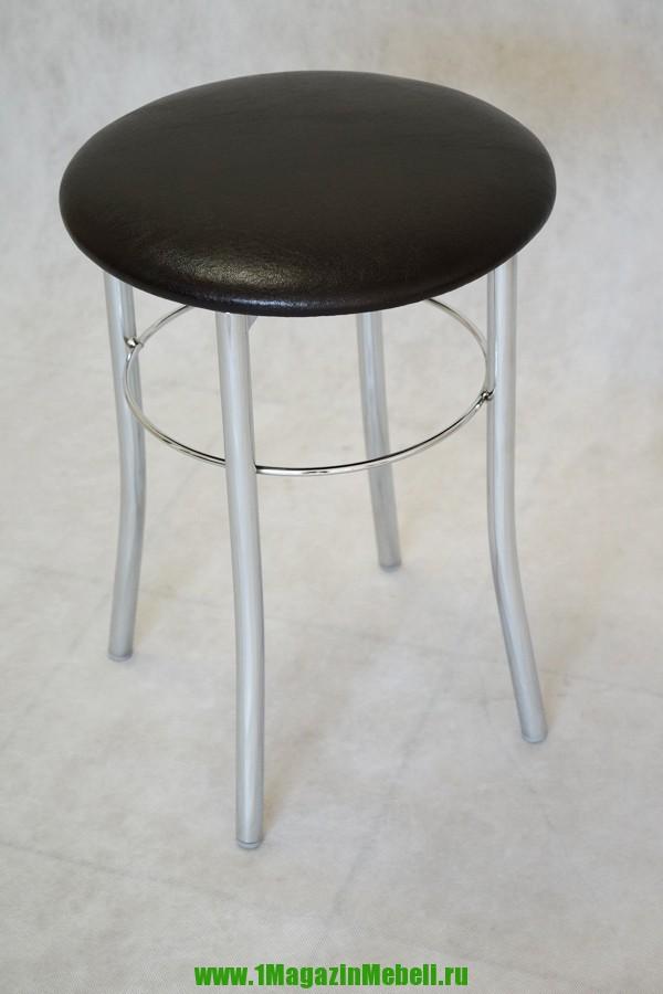 Табурет металлический цвет венге, круглый, хром (арт. М3109)