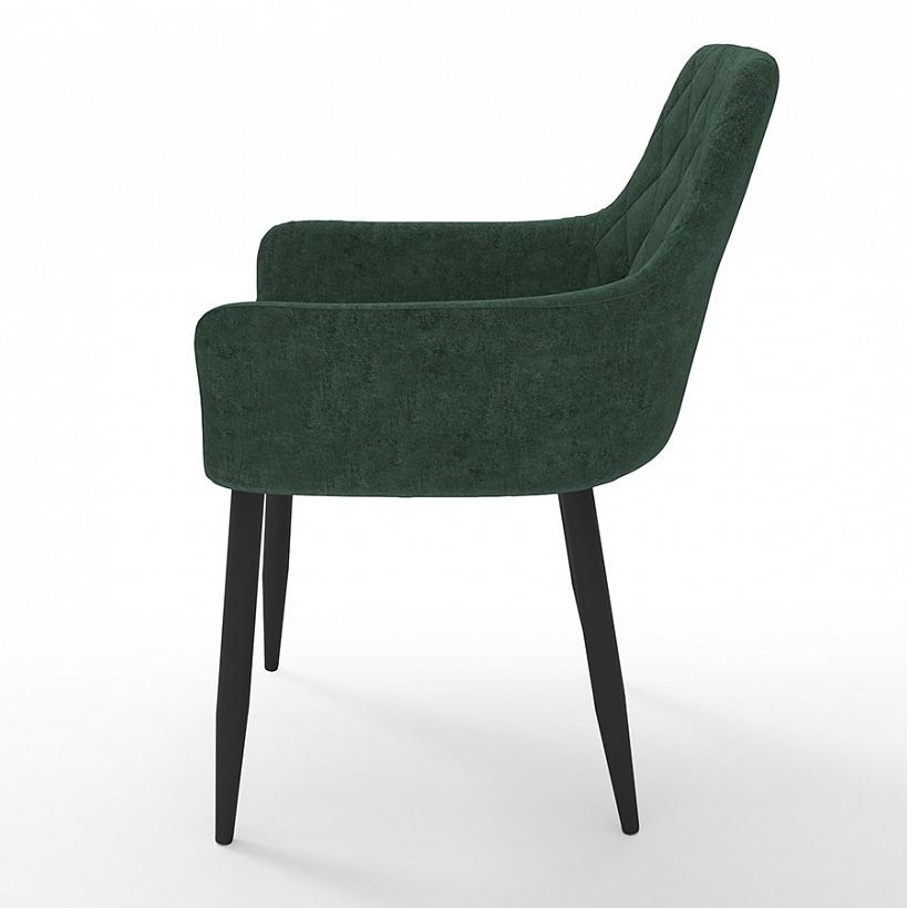 Уютный зеленый мягкий стул с прошивкой ромб на спинке (арт. М3372)
