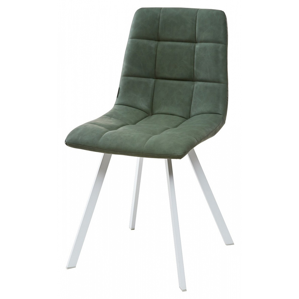 Зеленый стул для кухни с белыми ножками (арт. М3420)