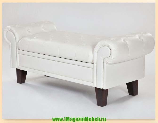 Банкетка для дома с ящиком и подлокотниками белая (арт. М2066)