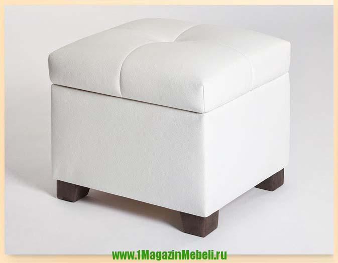 Банкетка пуфик в прихожую с ящиком, цвет белый 501236 (арт. М2052)