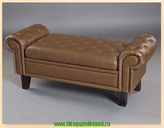 Банкетка 300100 для спальни с ящиком, грецкий орех (арт. М2069)