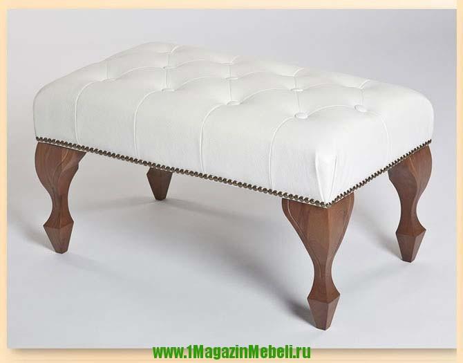 Белая банкетка для прихожей или спальни, Камелия (арт. М2042)