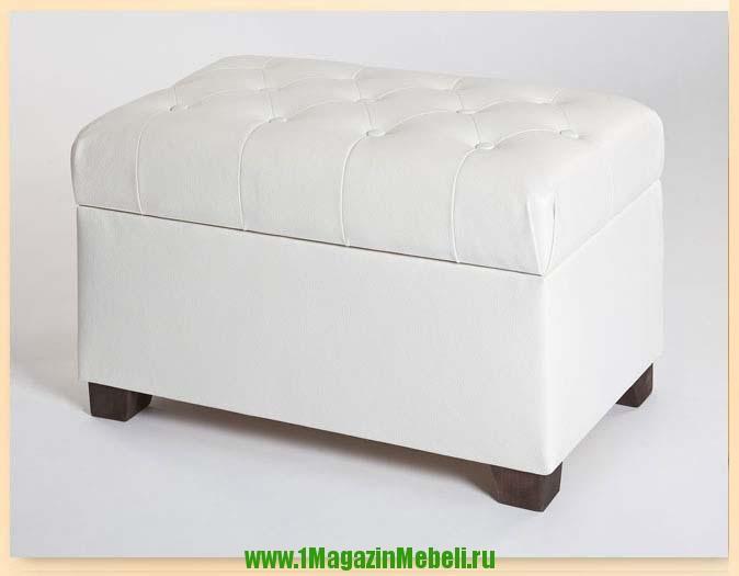Белая банкетка-пуфик 400100 с открывающимся ящиком (арт. М2059)