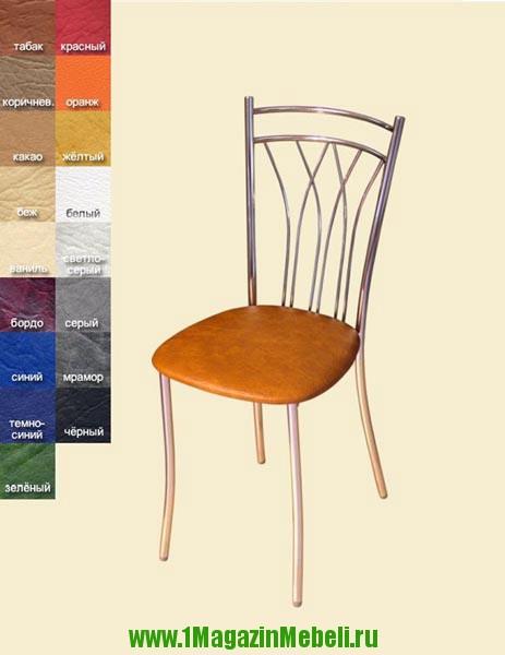 Металлические кухонные стулья, хром, HS014, кож. зам. Премьер (арт. М3023)