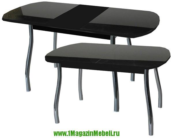 Черный, стеклянный, раскладной стол для кухни (арт. М4076)