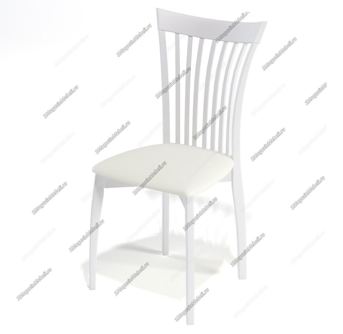 Стул белый для кухни 102М дерево, кож. зам (арт. М3259)