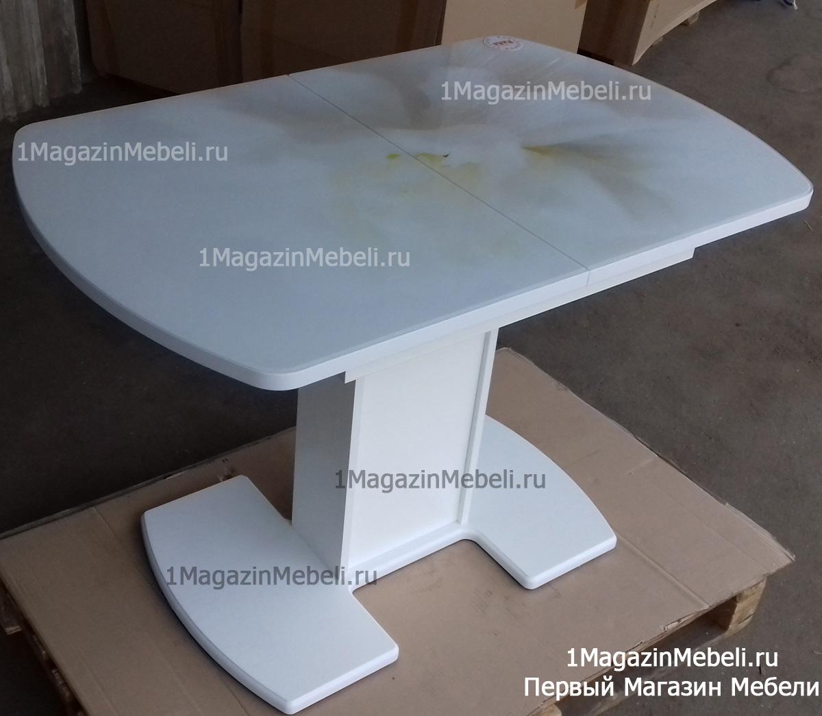 Стол обеденный на одной ножке, стеклянный, раздвижной (арт. М4318)