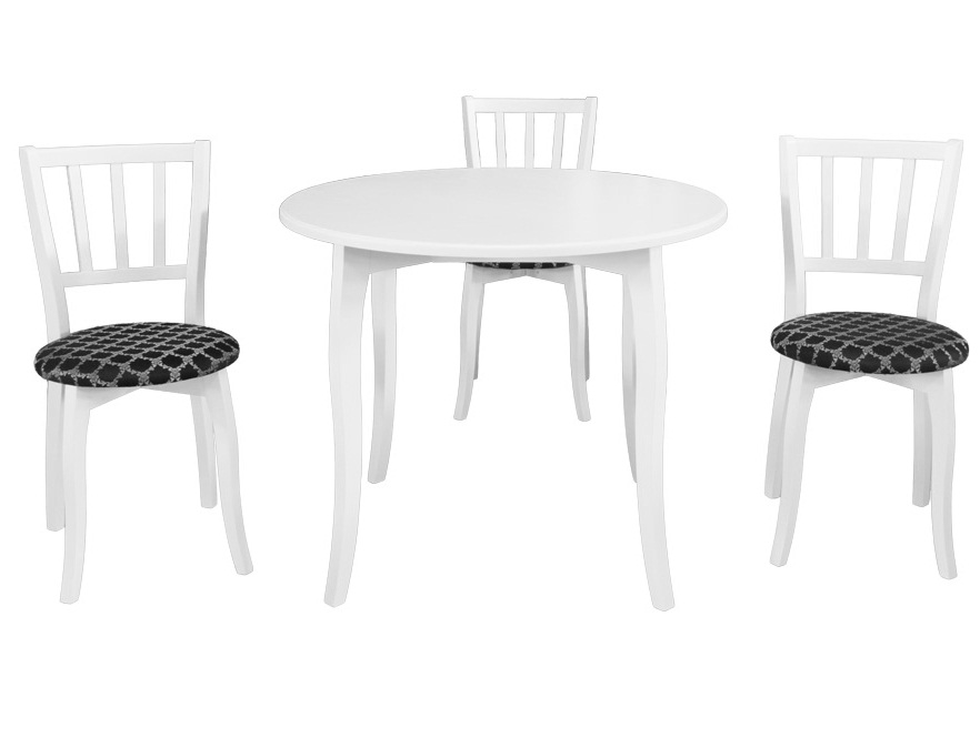 Белая обеденная группа круглый стол и 3 стула из дерева (арт. М5002)