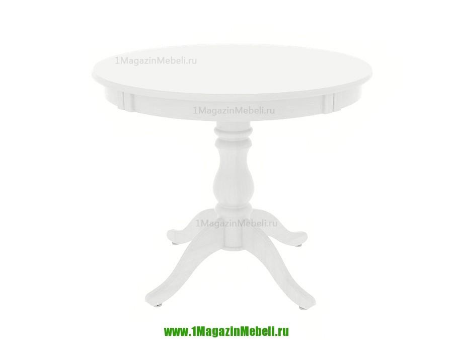 Стол кухонный белый из дерева круглый, раздвижной 93 см. (арт. М4170)
