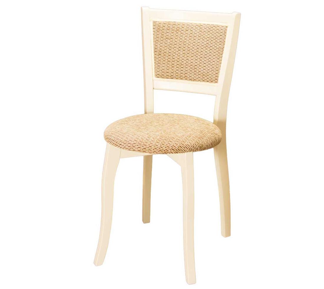 Бежевый стул из дерева с круглым сидением и мягкой спинкой (арт. М3263)