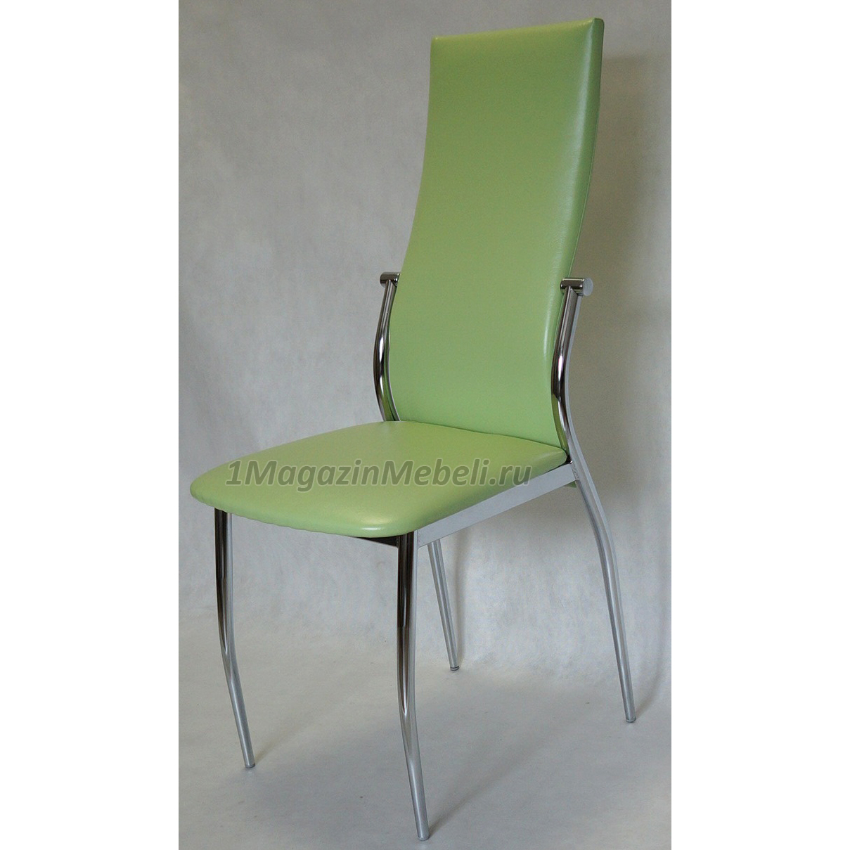 Фисташковый (салатовый) хромированный стул на кухню hs-022 (арт. М3228)