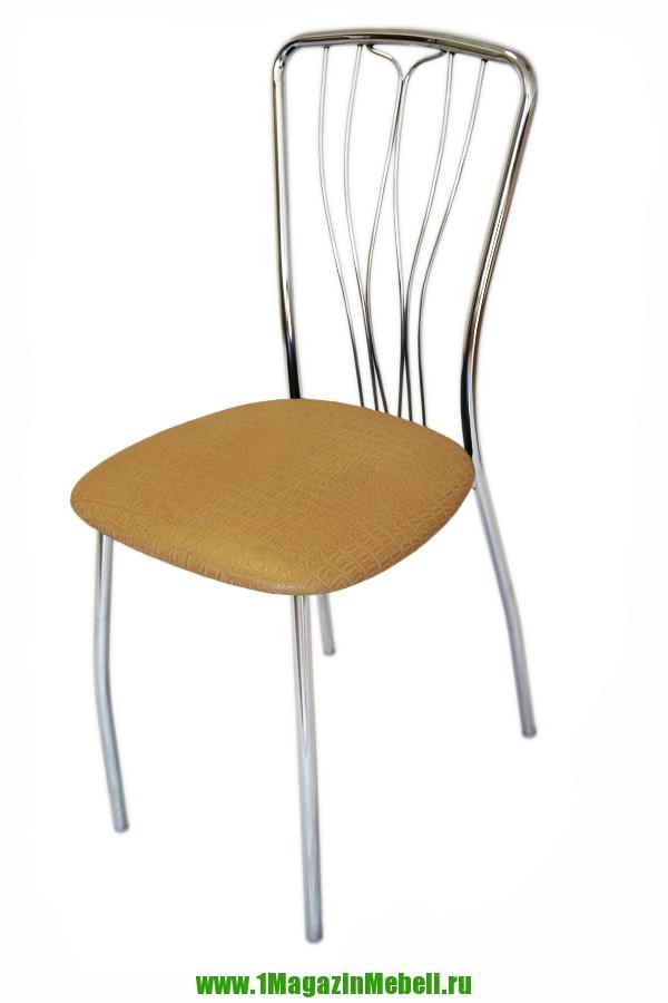 Хромированный стул для кухни, желтый крокодил (арт. М3153)