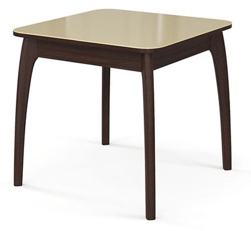 Надежный стеклянный кухонный стол венге беж 80 см. (арт. М4284)