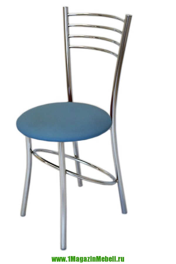 Стул для кухни, цвет голубой, металл хром (арт. М3194)