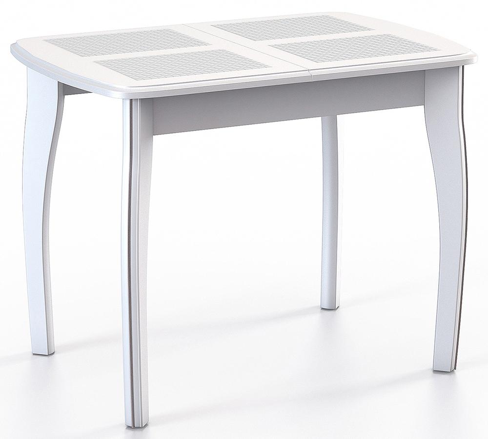Стол обеденный с плиткой Домино-1 МР белый, раздвижной 90х60 + 35 см. (арт. М4359)