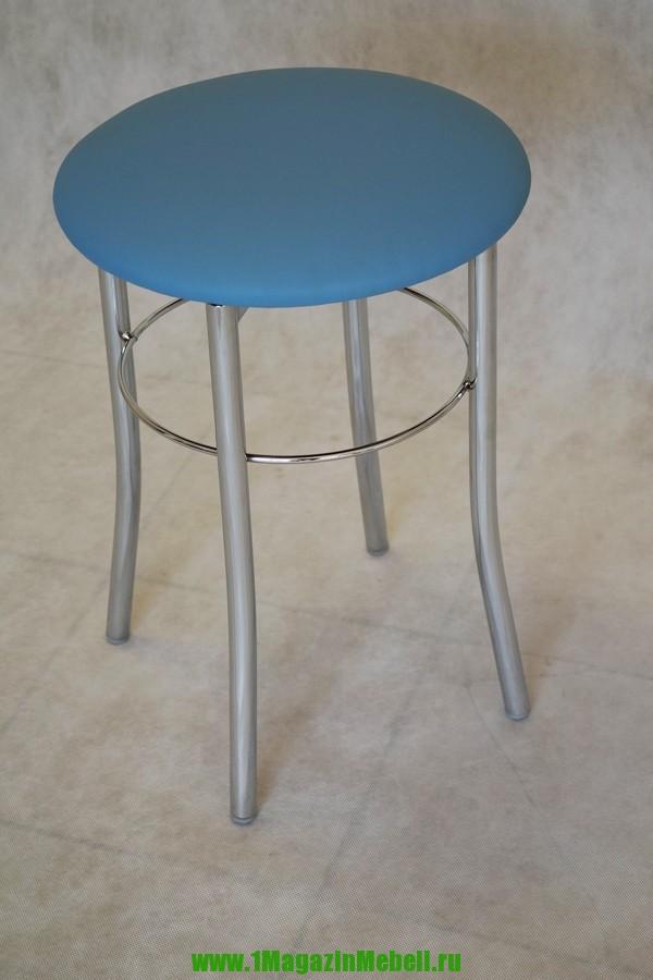 Табурет для кухни цвет голубой, круглый, хром (арт. М3120)