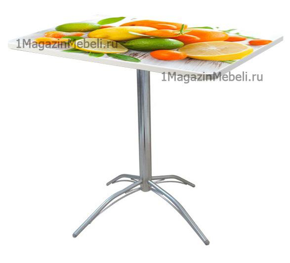 Прочный маленький стол для кухни 80х60 см. с фотопечатью, недорогой, хром (арт. М4302)