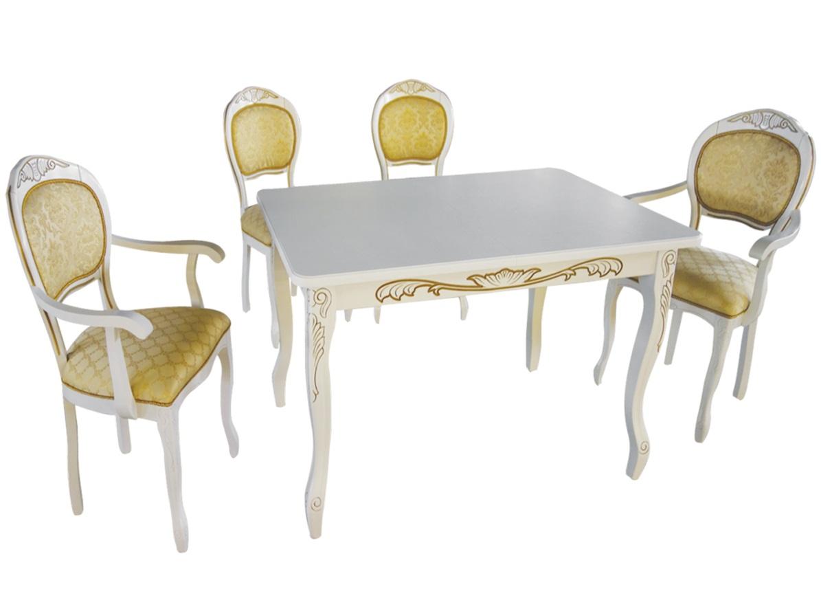 Комплект: 2 стула с подлокотниками, стол и стулья (арт. М5003)