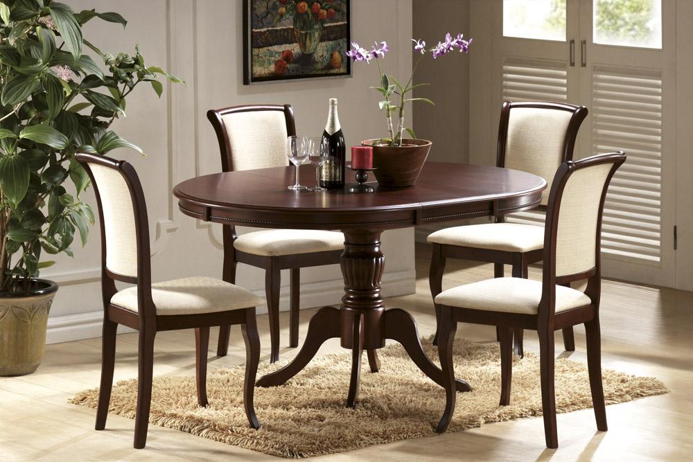 Круглый изящный стол для кухни olivia табак, 106 см. из дерева (арт. М4189)