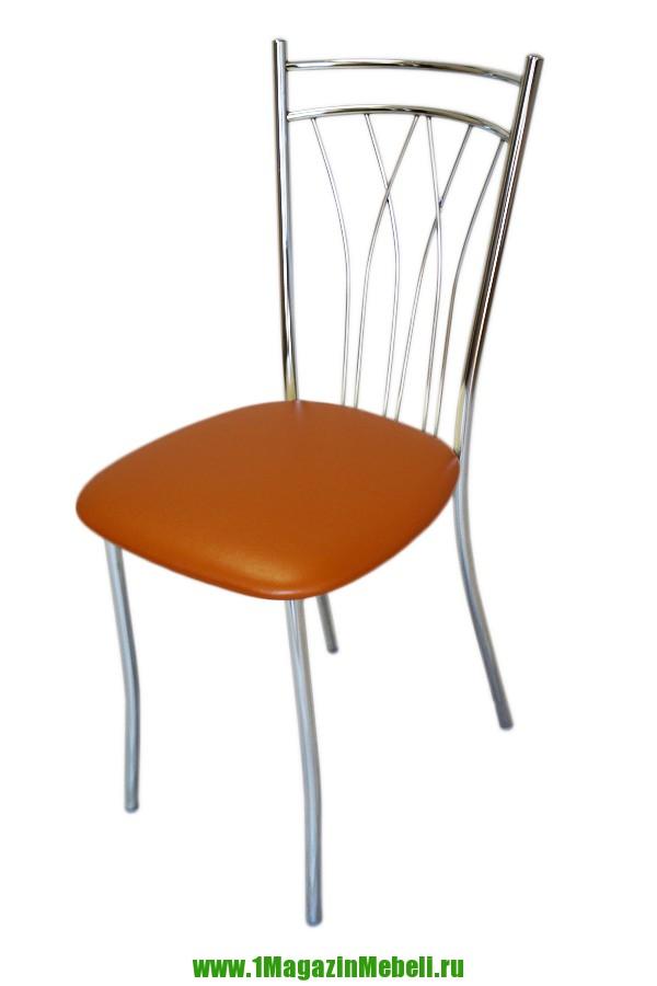 Оранжевый стул для кухни, металлический, хром (арт. М3170)