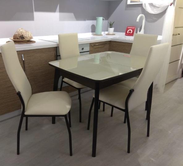 Стол обеденный для маленькой кухни №40 ДН4 венге, стекло бежевое 90х65 см. (арт. М4362)