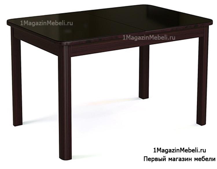 Обеденный стол с деревянными ножками венге стекло черное 120см. (арт. М4348)