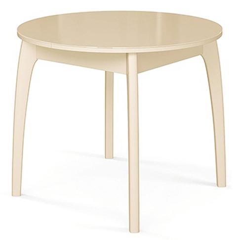 Стол кухонный круглый 90 см. слоновая кость, стеклянный, раздвижной (арт. М4329)
