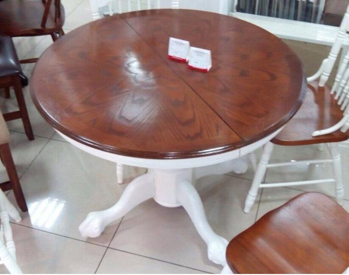 Стол круглый деревянный золотисто-коричневый с белой ножкой (арт. М4223)