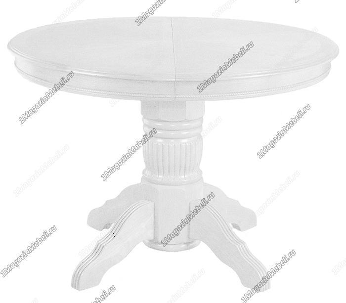 Круглый белый стол из дерева, кухонный раздвижной (арт. М4225)